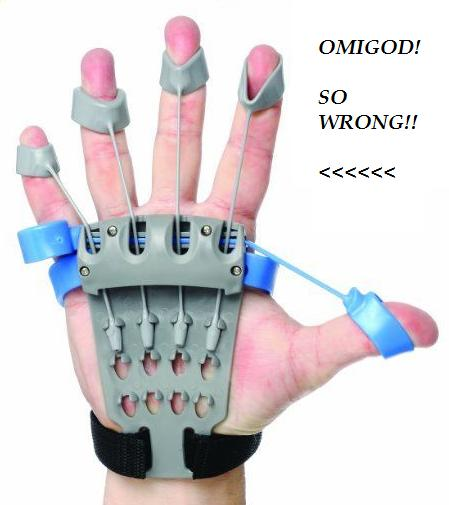 AND HERE'S A DAMAGING HAND EXERCISE APPARATUS OF THE 21ST CENTURY - SAME THING!